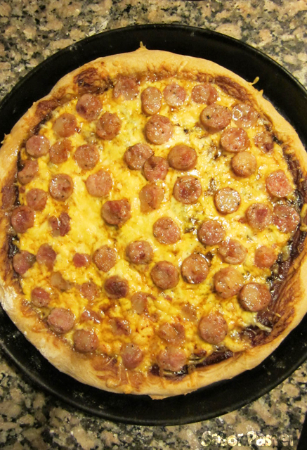 Stout BBQ Pizza (with Sausage and Cheddar)