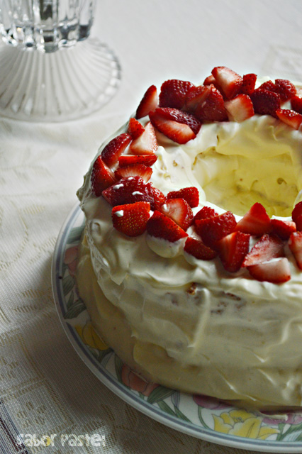 Strawberries and Cream Angel Cake